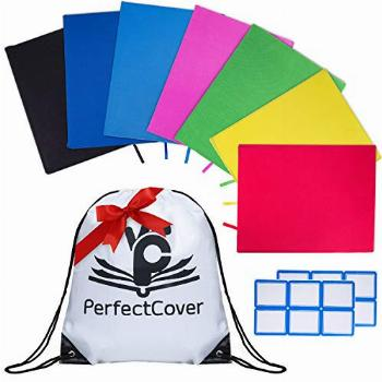 7 Pack Stretchable Book Covers - Multiple Colors Durable,