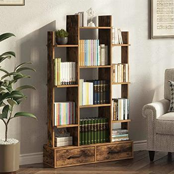 Rolanstar Bookshelf with 2 Wooden Drawers, Rustic Wood