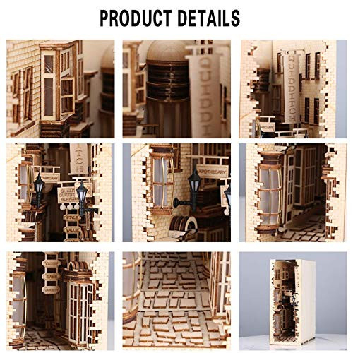 Wooden Diagon Alley Book Nook Kit Bookend Stand Bookshelf